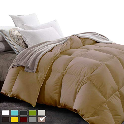 Bedding Homes Luxurious and Elegant Quality Soft Fluffy 300 GSM Comforter 600TC 100% Long Staple Egyptian Cotton All Seasons Italian Finish Breathable Design Quilt/Comforter (Queen-Taupe)