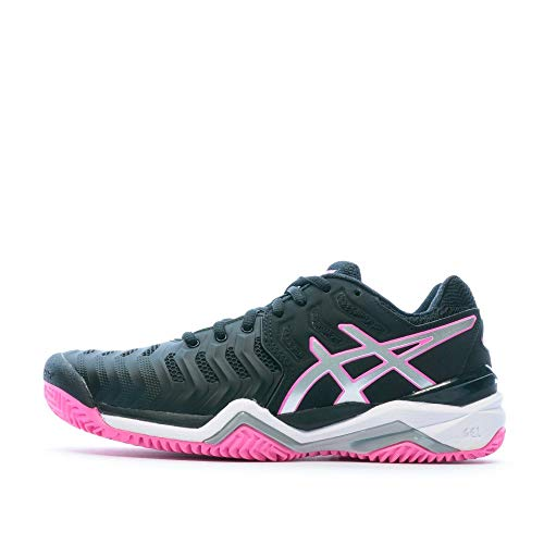 ASICS Gel-Resolution 7 Clay, Scarpe da Tennis Donna, Nero Rosa Argento, 37.5 EU
