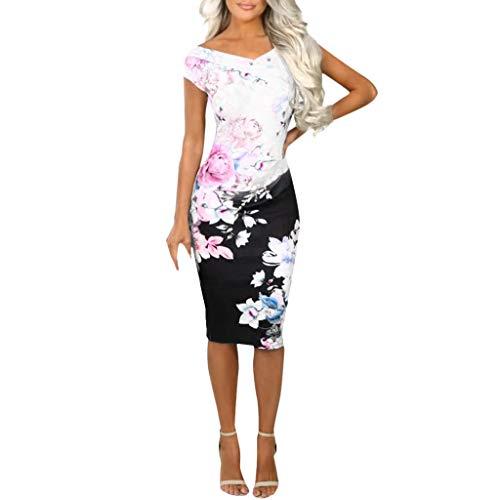 BOLANQ Damen Abendkleid Kurz Spitze Sommerkleider Flare Sleeve Langarm Kleid V Ausschnitt Enge Minikleid Sexy Cocktailkleid Elegant Kleider Kurz Strand Kleidung Partykleider