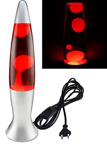 Lavalampe Dekoleuchte mit 150cm Kabel und Schnur Schalter 40cm I 230V I inkl. Leuchtmittel I Silber I Rot / Gelb