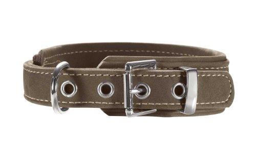 HUNTER HUNTING COMFORT Hundehalsband, Leder, Zugentlastung, weich, robust, 45 (S-M), oliv