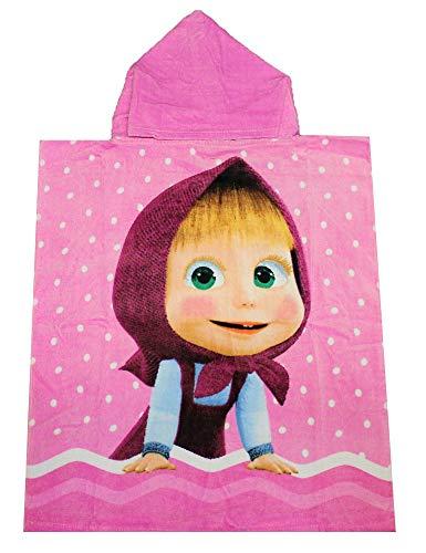 Masha y el oso Poncho para niños con capucha rosa 50 x 115 cm, 100% algodón, Oeko Tex Standard 100