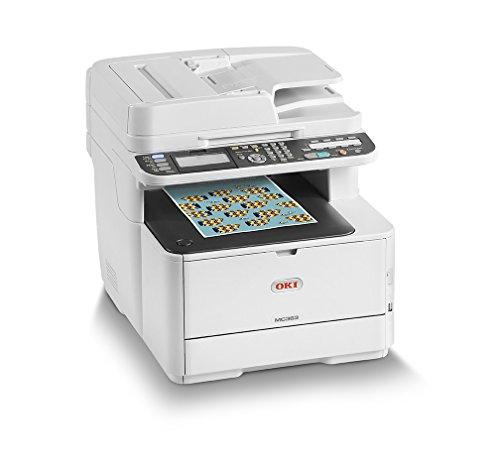 OKI MC363dnw Multifunktionsdrucker (Farbe, Kopieren, Drucken, Scannen, Faxen, A4, 26/30 Farbe/Mono Seiten/Min., 1.200x600 dpi, LAN, WLAN, Duplexdruck, 3.000 Seiten/Monat, max 45.000 Seiten)