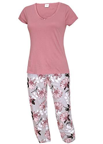kbsocken Langer Damen Schlafanzug Nachtwäsche Pyjama Schlafhose lange Hose mit Blumenmotiv T-Shirt Rosa S M L XL (XL)