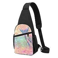 キラキラ ピンク 人魚 ショルダーバッグ チェストバッグ 多機能 軽量 メッセンジャーバッグ防水旅行ウエストバッグ 携帯ポーチ カードが 小物入れ 収納 ユニセックス クロスボデ