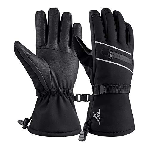 Skihandschuhe Schnee Handschuhe Touchscreen Herren Damen Winter Thermohandschuhe für Skifahren Radfahren Wandern Wasserdicht Winddicht (L)