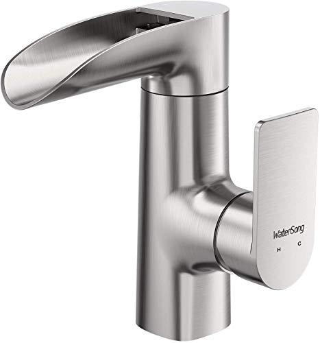 WaterSong Grifo de baño generalizado de cascada - Caño de una sola manija de un agujero de lavabo moderno grifo de lavabo con cUPC grifos líneas de suministro de lavabo comercial cascada grifo
