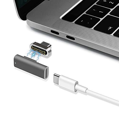 magsafe マグネットUSB C アダプター、Type c コネクタ、100W急速充電 USB3.1データ通信(10Gb/s) 4Kビデオ出力対応、MacbookやMacBook ProなどのUSB C デバイスに適用する (グレー)