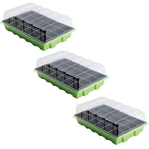 SATURNIA Semillero Germinación Invernadero 24 Compartimentos Con Bandeja Anti Goteo Sets De 3 Piezas Siembra / Germinacion de plantas