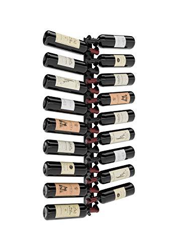 Class 18: Portabottiglie da vino in metallo ferro nero opaco, da appendere a parete, made in Italy; portabottiglie con stoccaggio per 18 bottiglie, compreso di viti e fischer per il montaggio.