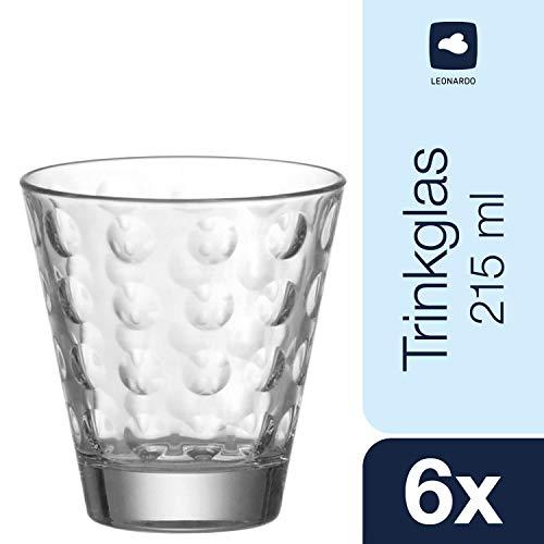 Leonardo Trinkglas Optic, Gläser-Set mit Innenrelief, Trink-Gläser in konischer Form, 215-ml Füllvolumen, 6-teilig, 012683