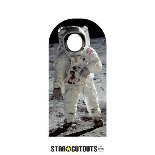Star Cutouts SC1347 Buzz Aldrin Astronaut Aufsteller Mann auf dem Mond, in Pappaufsteller perfekt für Partys, Geschenke und Veranstaltungen, 194 cm hoch, mehrfarbig