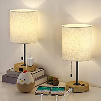HAITRAL Wooden USB Table Lamps- Bedside Lamps with Dual USB Port and Outlet Dual USB Lamps with Pull-Chain Switch Table Lamps for Bedroom Living Room Dorm Farmhouse- Set of 2