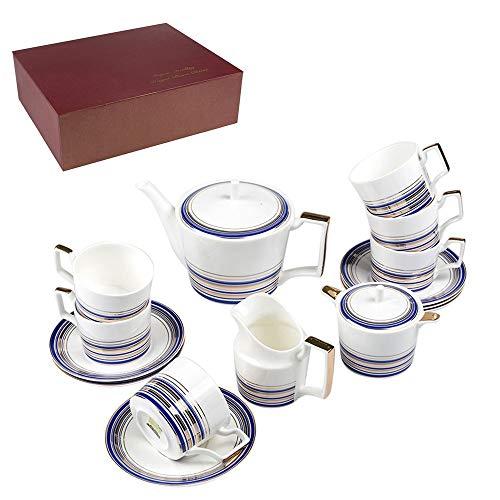 Fantastic Prices! 21 Piece Tea Set White Royal Fine Bone China Luxury Contenporary Style In Gift Box...