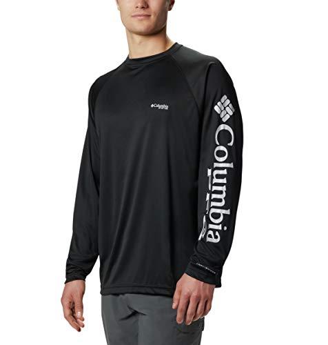 Columbia Men's PFG Terminal Tackle Long Sleeve Tee , Black/Cool Grey Logo, X-Large