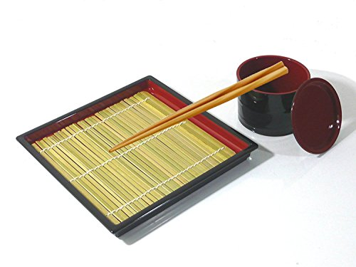MySushiSet - Japanese Square Zaru Soba Noodle Tray with Tsuyu Dipping Cup