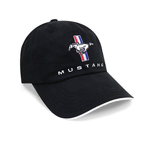 CarBeyondStore for Ford Mustang Tri-Bar Logo Sandwich Bill Black Baseball Cap