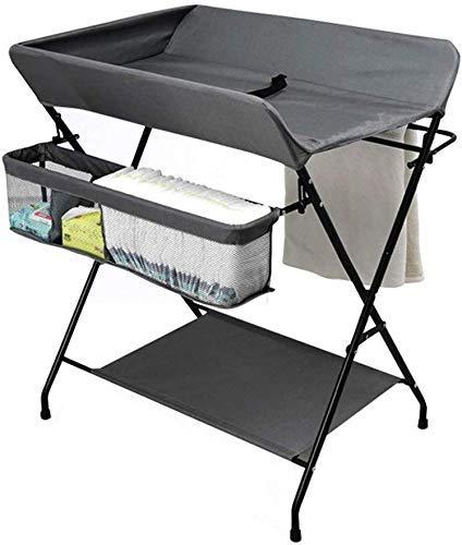 N/Z Living Equipment Mesa Mesa de bebé Plegable con Almacenamiento Estación de Cambiador de pañales Organizador de guardería para bebés con Rejilla de Secado de Toallas (Color: Gris)