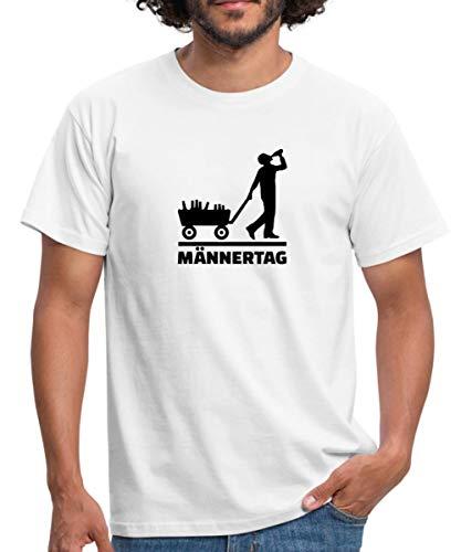 Männertag Bollerwagen Bier Trinken Männer T-Shirt, XXL, Weiß