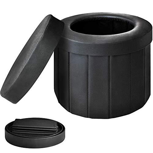 OOCOME Porta de vaso sanitário dobrável portátil dobrável para acampamento ou vaso sanitário para acampamento, caminhada, viagens longas e engarrafamento (preto)
