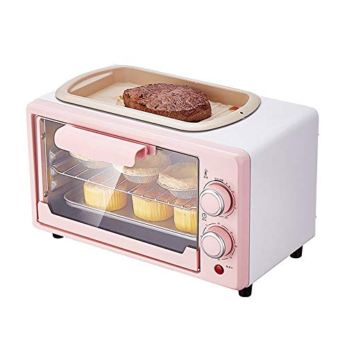 J Electric Oven, 12 Liters 800w Household Mini Electric Oven, With A Frying Pan On Top, Used for Bread, Pizza, Egg Art, Grilled Fish, Chicken Wings, Pink