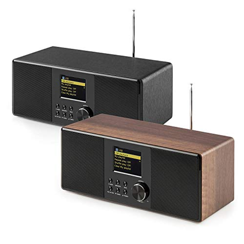auna Connect 120 WN - Internetradio, Digitalradio, WLAN-Radio, Netzwerkplayer, DAB+ / UKW-Tuner mit RDS, Bluetooth, MP3-USB-Port, AUX, Wecker, Sleep-Timer, Farbdisplay, walnuss