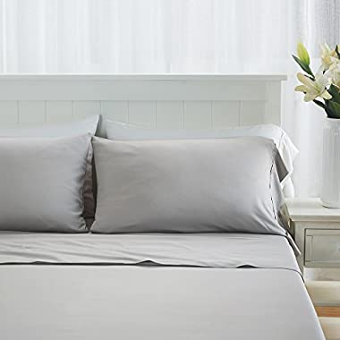 Premium 100% Organic Bamboo Fiber 4-Piece Sheet Set, Fits Mattresses up to 18  Deep - Queen, Light Gray - Big Sale!!
