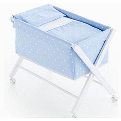 Pirulos 28900513 - Vestidura minicuna, diseño stars, algodón, color blanco y azul