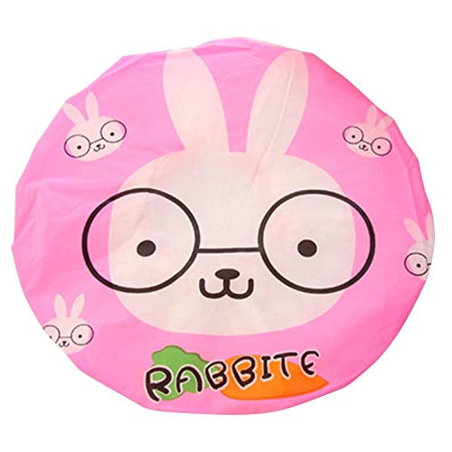 VIMOER herbruikbare cartoondier waterdichte douchekap kunststof kant elastische ring bescherming haar hoed Medium konijn