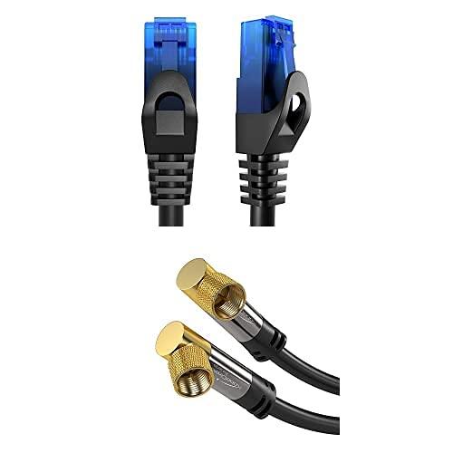 KabelDirekt Bundle, 0.25 m, Cable de red, Ethernet, cable LAN y Patch y cable SAT en ángulo de 90° de 2 m (conector F, 75Ω, cable coaxial conector F, HDTV, DVB-T2, DVB-C, DVB-S)