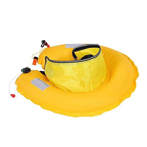 REALM-ARK Correa de Cintura Inflable Segura del Chaleco Salvavidas Inflable con Las Cintas reflexivas y la Correa Ajustable del silbido, rápido para inflar(Amarillo)