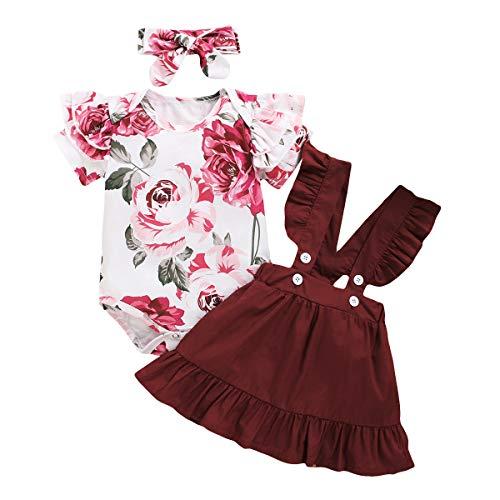 Bonfor 3 Piezas Conjunto Ropa Bebe Niña 0-3 Meses Verano Vestidos Algodon Mono de Floral + Falda de Tirantes + Banda de Pelo para 0-18 Meses Recien Nacido Niño (Vino Tinto, 3-6 Meses)