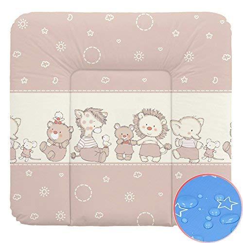 Ceba Baby Wickelauflage Wickelunterlage Wickeltischauflage 70x75 cm Abwaschbar - Tierbabies Sterne 70 x 75 cm