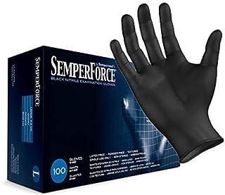 Sempermed BKNF104 SemperForce Nitrile Glove, 4 Mil, Powder-Free, Large, Black (Case of 1000) by Sempermed