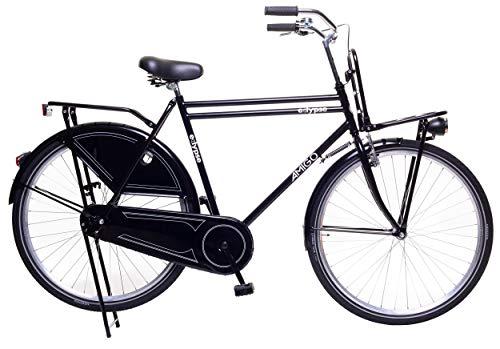 Amigo Eclypse - Bici da città per uomo - Bicicletta da uomo 28 pollici - Adatto da 175-185 cm - Citybike con freno a mano, Freno a contropedale, portapacchi anteriore, luci e supporto per bici - Nero