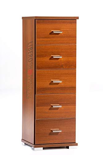 Mobile cassettiera piccola legno 5 cassetti multifunzione (Noce)