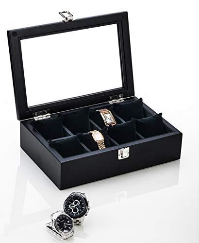 Caja para relojes 8 ranuras Caja Porta Reloj, Caja de madera maciza para relojes con almohadas extraíbles y tapa de vidrio, caja de colección de relojes clásicos con cerradura