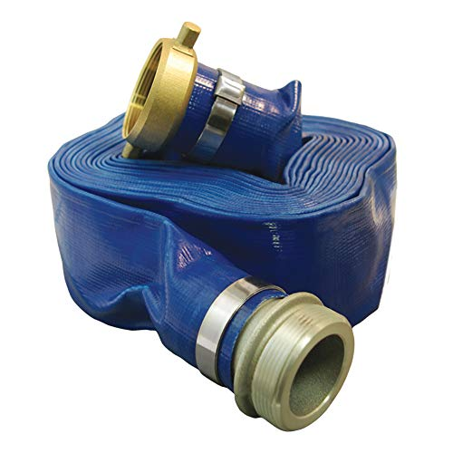 Apache 98138045 2' x 50' Blue PVC Lay-Flat Discharge Hose with Aluminum Pin Lug Fittings