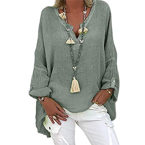Ajpguot Damen Oversize Baumwolle und Leinen Blouse Elegant Druck Tunika Shirt Bluse Mode V-Ausschnitt Longshirt Oberteile Lose Lang Tops