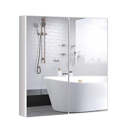 Tangkula Bathroom Medicine Cabinet, 2-Tier Wall-Mounted Storage Cabinet with Double Mirror Doors, -