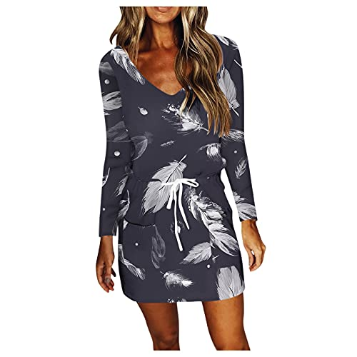 Vestido de verano para mujer, suelto, informal, cuello en V, vestido de playa, vestido corto, sin mangas, vestido de playa informal, #3_gris, S