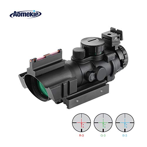 AOMEKIE Air Rifle Scope 4X32mm Red/Green/Blue Illuminated...