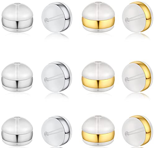 DELECOE 12pcs Soft Silicone Earring Backs for Studs Silver&Gold Belt Rubber Earring Backs Replacements Hypoallergenic Safety Plastic Earring Back for Studs Earring Hoops Fish Hook
