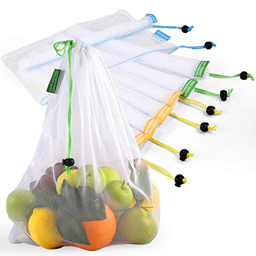 Bolsas reutilizables de malla lavinrose reutilizables con cordón y etiquetas de peso de tara, resistente a las costuras, transparente y lavable, juego de 9