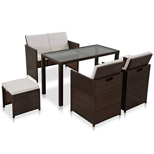 Lasamot Conjunto de 6 Muebles Modernos y prácticos para Exteriores, Conjunto de 6 Piezas de Mesa de Muebles de jardín de Moda marrón y Blanco * 1 Banco * 1 Silla * 2 Taburete * 2