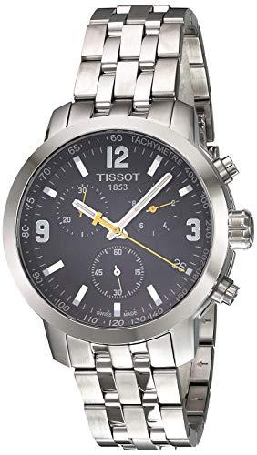 TISSOT MEN'S 42MM STEEL BRACELET & CASE QUARTZ BLACK DIAL WATCH T0554171105700