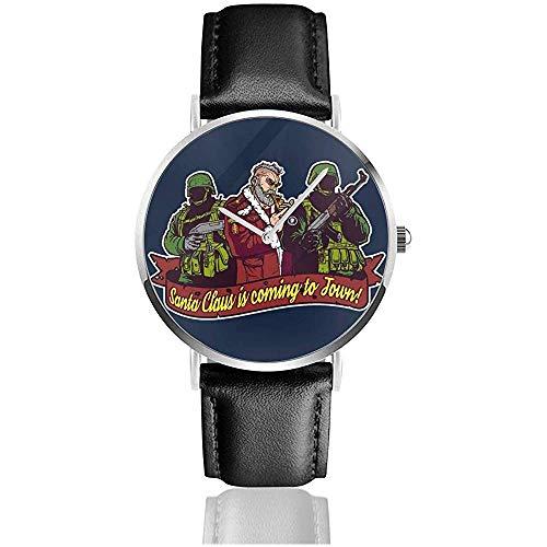 Unisex Better Watch out Military Santa Claus Christmas Watches Reloj de Cuero de Cuarzo con Correa de Cuero Negro