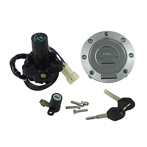 Kaixinuo Motorcycle Ignition Switch Gas Cap Seat Lock Key Set Compatible For Yamaha MT03 06-12 YZF R6 1999-05 R1 1998-05