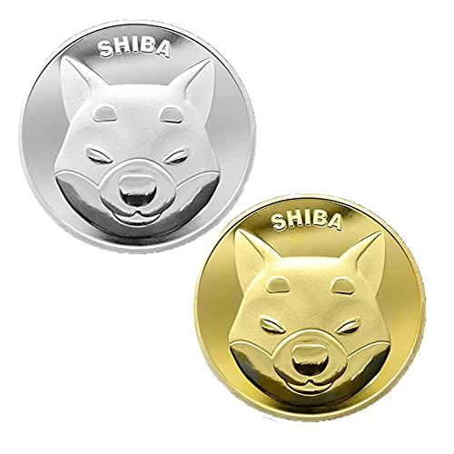GSJD Moneda Shiba Shib Token, Moneda Coleccionable en Relieve de Dos Caras, Recuerdo de Moneda chapada en Oro/Plata de coleccionistas conmemorativos, imprescindible para los Amantes de Shib