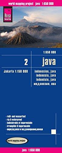Indonesia 2: Java, mapa impermeable de carreteras. Escala 1:650.000 impermeable. Reise Know-How.: Indonesien 2. Exakte Höhenlinien, ... Straßennetz, ausführlicher Ortsindex